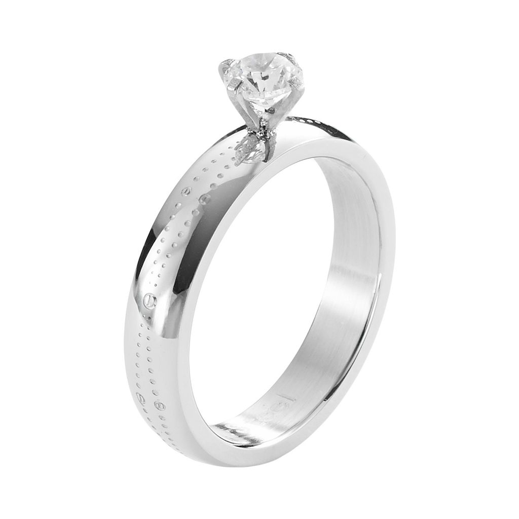 Steel City Stainless Steel Cubic Zirconia Ring