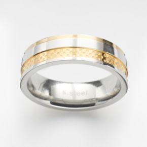 Steel City Stainless Steel Two Tone Textured Ring