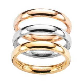 Steel City Stainless Steel Tri-Tone Stack Ring Set