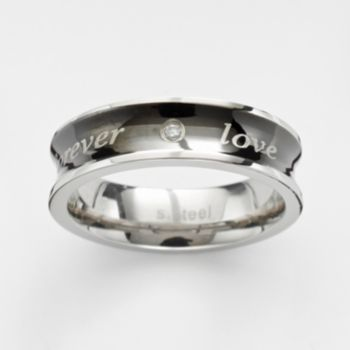 Steel City Stainless Steel Cubic Zirconia Forever Love Ring