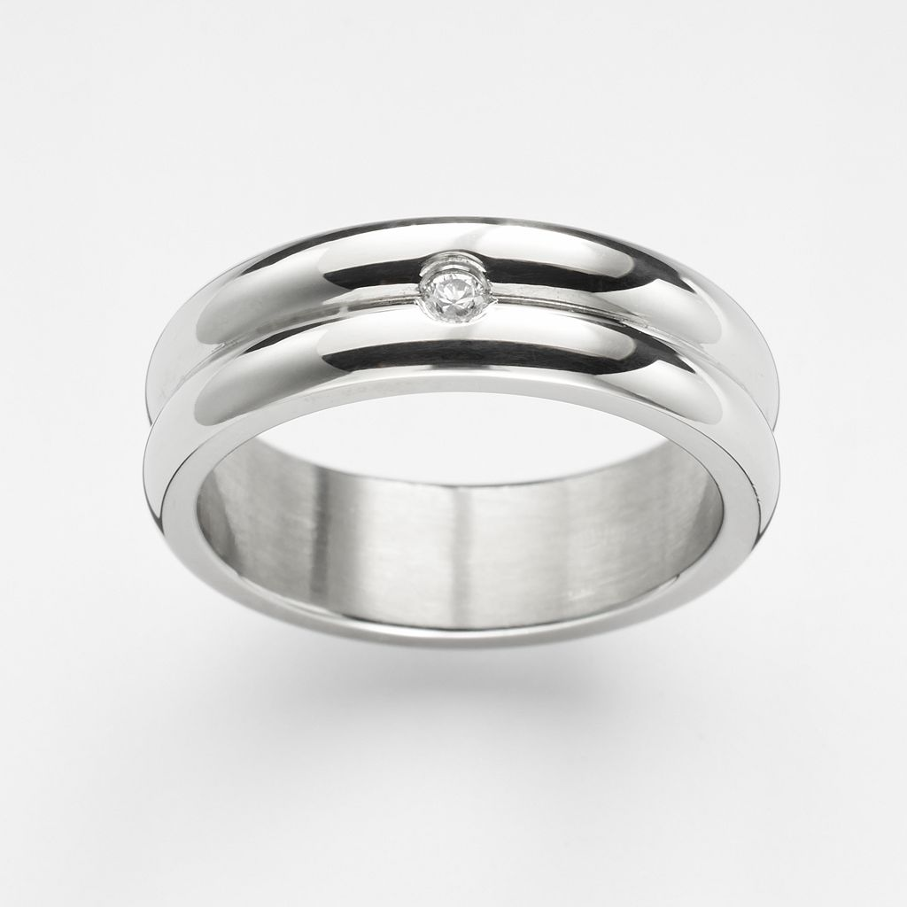 Steel City Stainless Steel Cubic Zirconia Grooved Ring