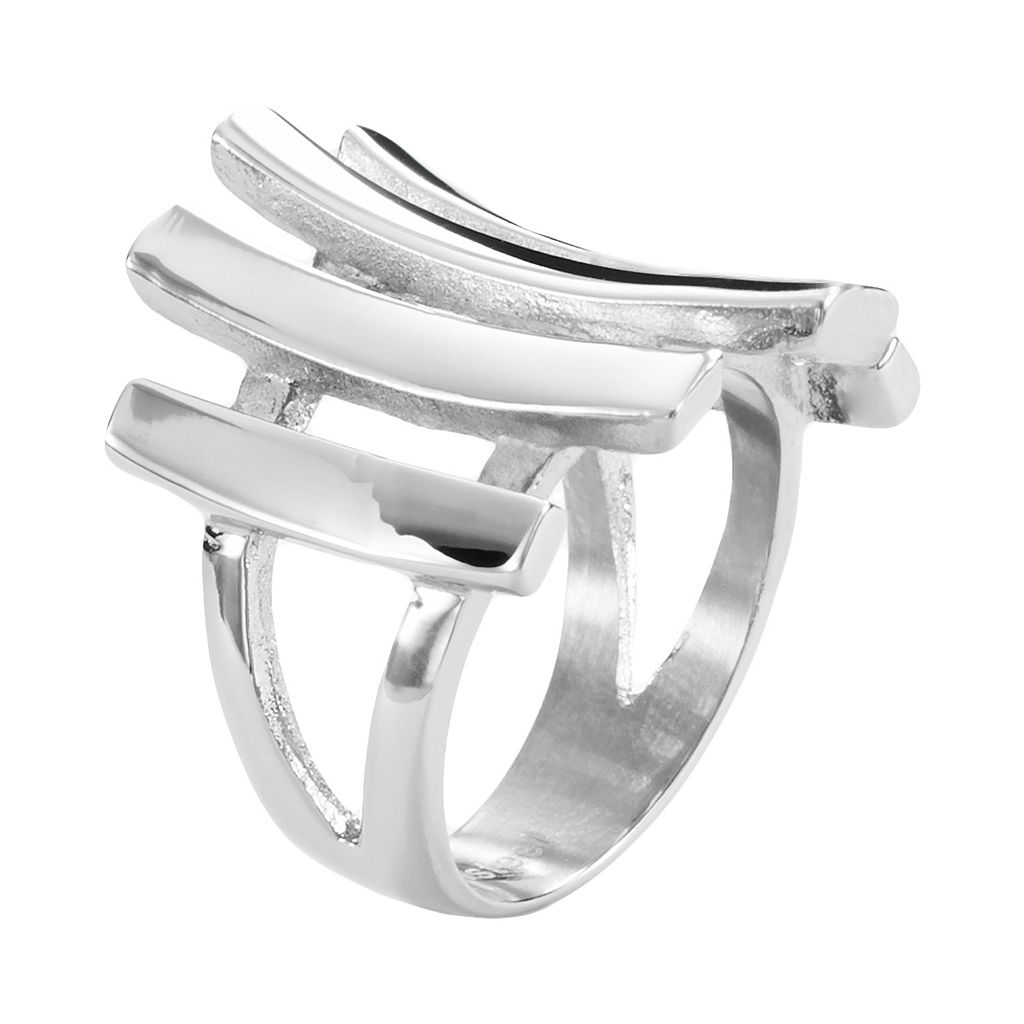 Steel City Stainless Steel Stacked Ring