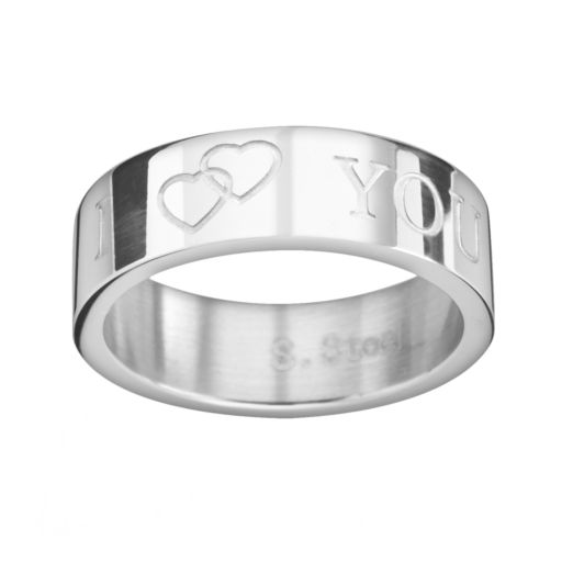 Steel City Stainless Steel I Heart You Ring