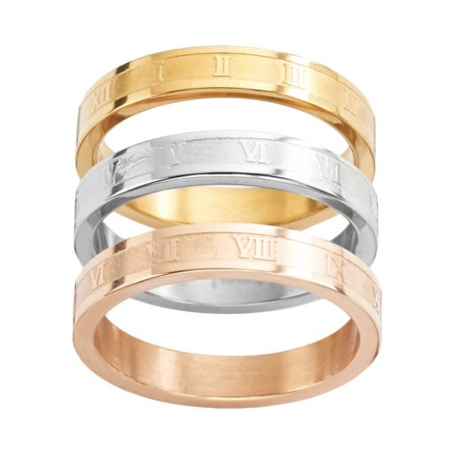 Steel City Stainless Steel Tri-Tone Roman Numeral Stack Ring Set