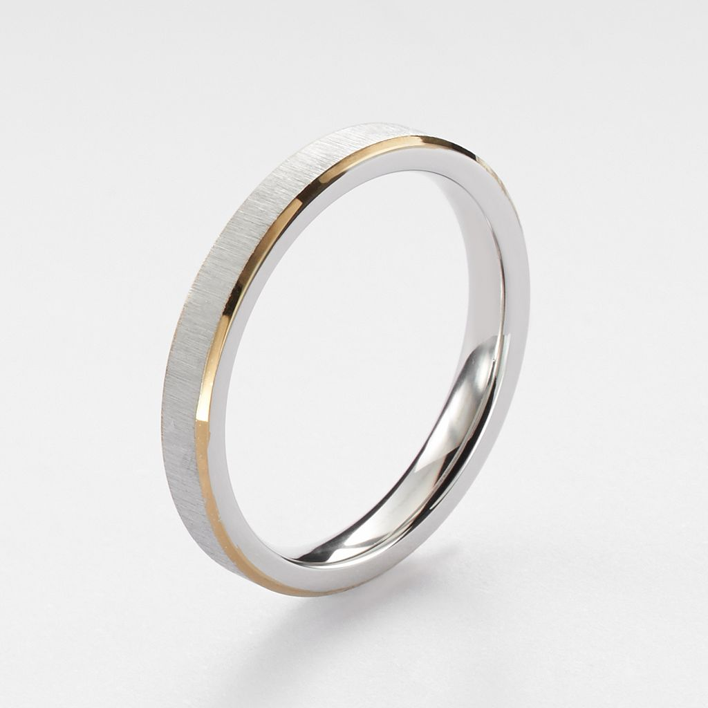 Steel City Stainless Steel Two Tone Brushed Ring