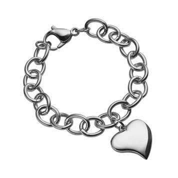 Steel City Stainless Steel Heart Charm Bracelet