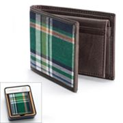 Croft and Barrow Plaid Buff Bahama Slim Passcase Wallet - Men