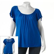 Wrapper Lace Back Top - Juniors' Plus