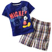 Disney Mickey Mouse Mock-Layer Tee and Plaid Shorts Set - Toddler