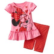 Disney Mickey Mouse and Friends Minnie Mouse Heart Sunglasses Tee and Bike Shorts Set - Toddler