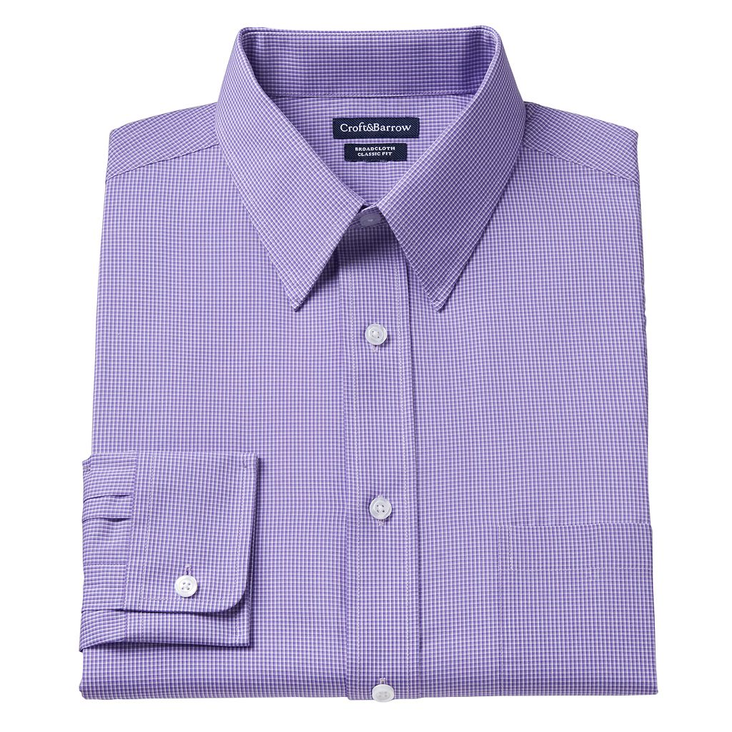 Men's Croft & Barrow® Classic-Fit Mini-Checked Point-Collar Dress Shirt