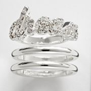 Silver Plate Simulated Crystal Dream Stack Ring Set
