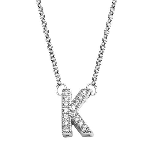 The Silver Lining Silver Plate Cubic Zirconia Initial Pendant
