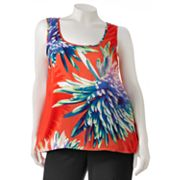 Wrapper Floral Hi-Low Tank - Juniors' Plus