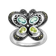 Silver Plate Cubic Zirconia, Aqua Glass and Marcasite Milgrain Butterfly Ring