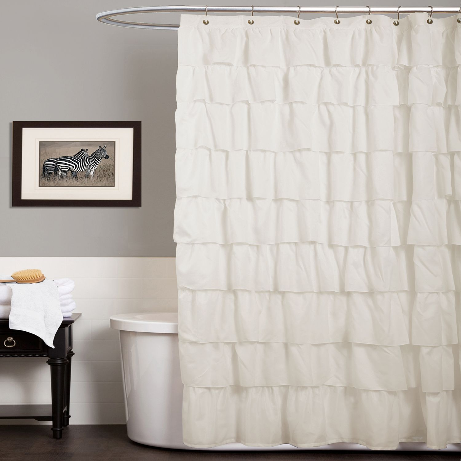 Lush Decor Ruffle Fabric Shower Curtain