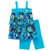 Youngland Tiered Floral Dress and Bike Shorts Set - Toddler