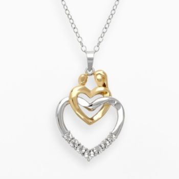14k Gold Over Silver and Sterling Silver Diamond Accent Motherly Love Linked Heart Pendant
