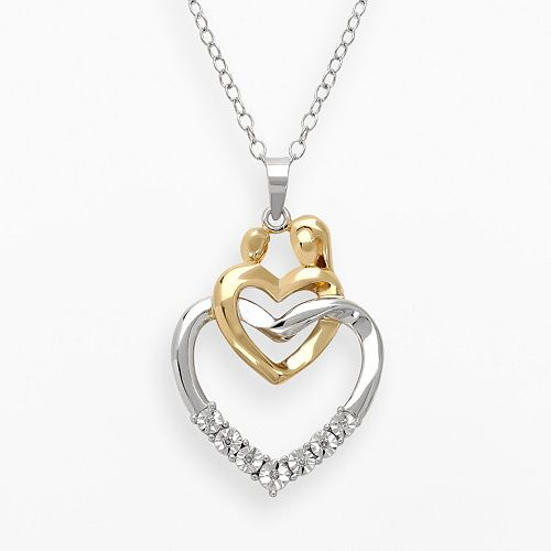 14k Gold Over Silver & Sterling Silver Diamond Accent Motherly Love Linked Heart Pendant