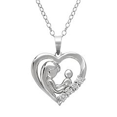 Sterling Silver Diamond Accent Motherly Love Heart Pendant