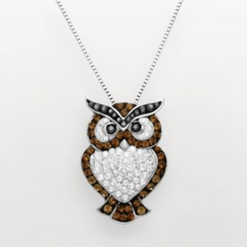 Artistique Sterling Silver Crystal Owl Pendant - Made with Swarovski Crystals