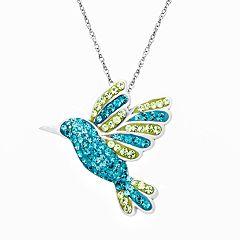 Artistique Sterling Silver Hummingbird Pendant - Made with Swarovski Crystals