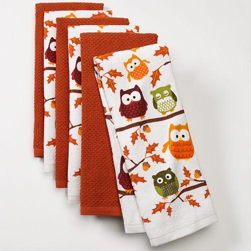 The Big One 6 Pk Owl Harvest Kitchen Towel Set