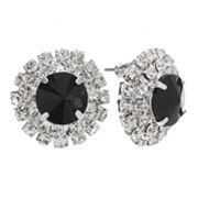 Franco Gia Silver Tone Simulated Crystal Frame Button Stud Earrings