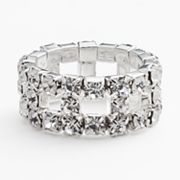 Franco Gia Silver Tone Simulated Crystal Openwork Stretch Ring