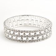 Franco Gia Silver Tone Simulated Crystal Openwork Stretch Bracelet