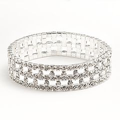 Silver Tone Simulated Crystal Stretch Bracelet