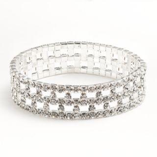 Silver Tone Simulated Crystal Stretch Bracelet