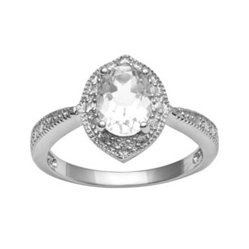 Sterling Silver White Topaz Diamond Accent Ring