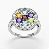 Sterling Silver 1/10-ct. T.W. Diamond & Gemstone Round Frame Ring