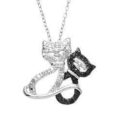 Sterling Silver 1/10 ctT.W. White & Black Diamond Cat Pendant