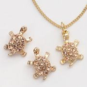 LC Lauren Conrad Gold Tone Simulated Crystal Turtle Pendant and Stud Earring Set