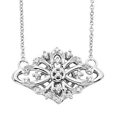 Simply Vera Vera Wang Sterling Silver 1/10 ctT.W. Diamond Openwork Necklace
