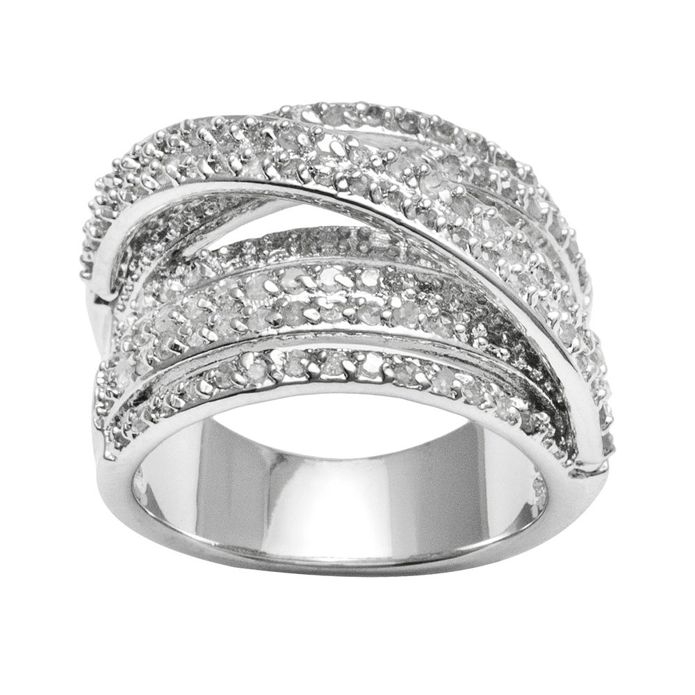 Sterling Silver 1ct Tw Diamond Crisscross Ring