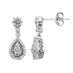 Simply Vera Vera Wang Sterling Silver 1/7-ct. T.W. Diamond Drop Earrings
