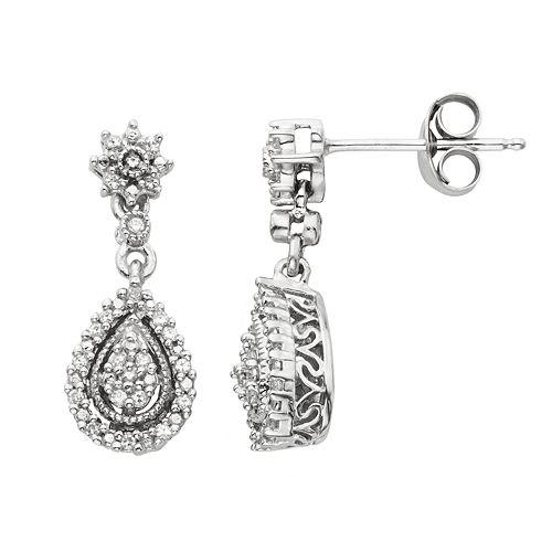 Simply Vera Vera Wang Sterling Silver 1/7-ct. T.W. Diamond Drop Earrings