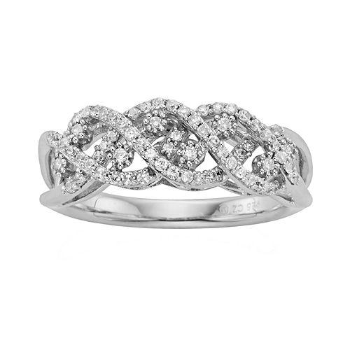 Simply Vera Vera Wang Sterling Silver 3/8-ct. T.W. Diamond Crisscross Wedding Ring