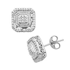 Simply Vera Vera Wang Sterling Silver 1/5 ctT.W. Diamond Tiered Stud Earrings