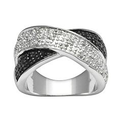 Silver Plate 1/4-ct. T.W. Black & White Diamond Crisscross Ring