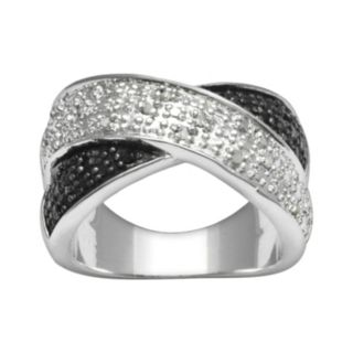 Silver Plate 1/4-ct. T.W. Black and White Diamond Crisscross Ring