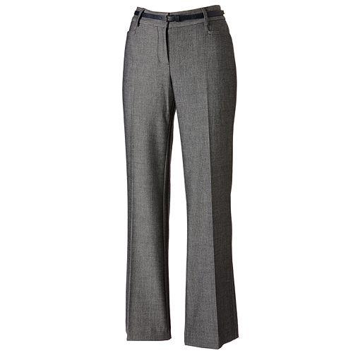 Apt. 9® Curvy Fit Herringbone Trouser Pants