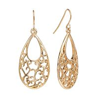 Gold Tone Filigree Teardrop Earrings