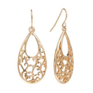 Gold Tone Filigree Teardrop Earrings