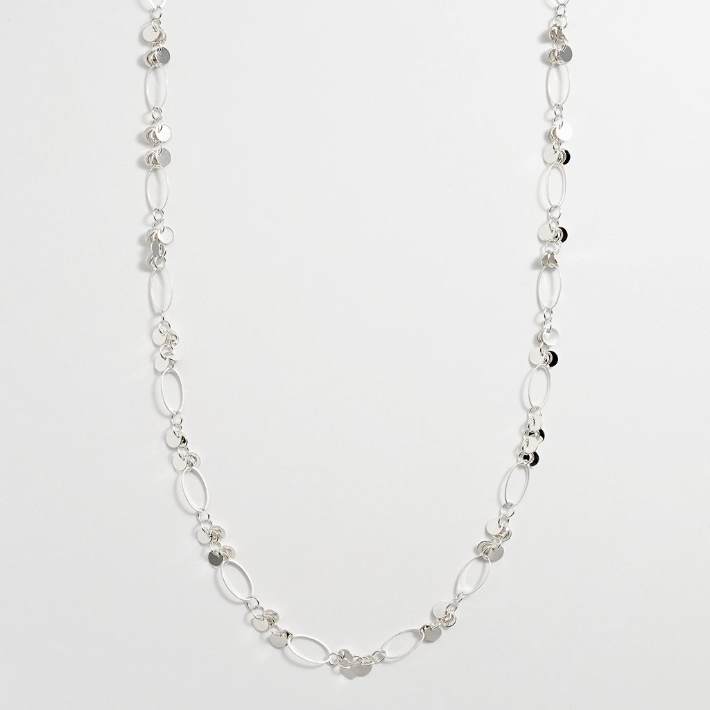 Silver Tone Oval Link & Disc Necklace