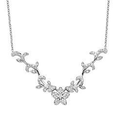 Simply Vera Vera Wang Sterling Silver 1/4 ctT.W. Diamond Flower Necklace