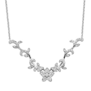 Simply Vera Vera Wang Sterling Silver 1/4-ct. T.W. Diamond Flower Necklace